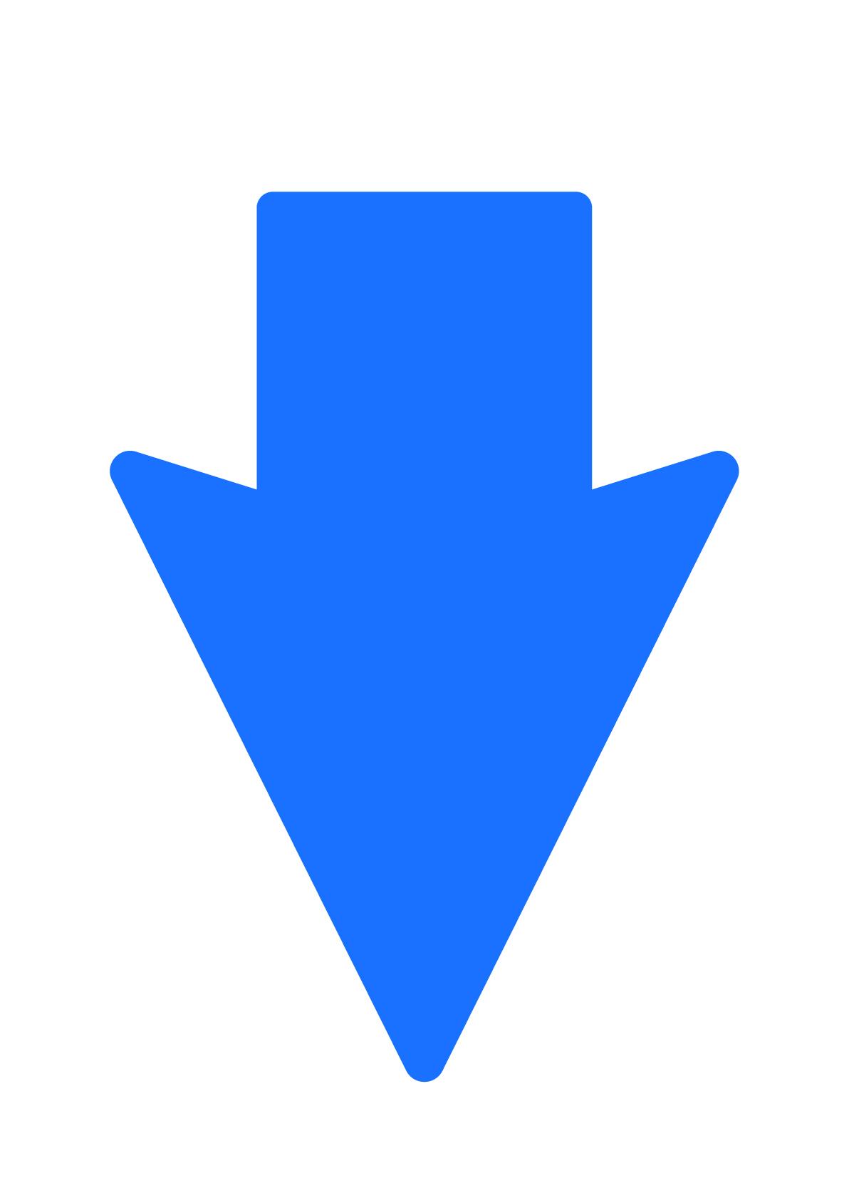 下矢印(白地に青)の張り紙 | フリー張り紙素材 はりがみや